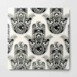 Hamsa Hand Panda Metal Print
