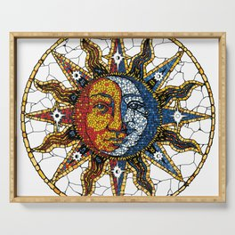 Celestial Mosaic Sun and Moon COASTER Serving Tray