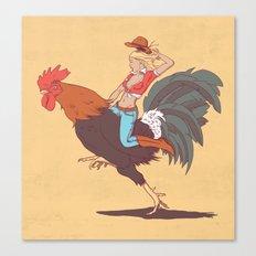 Girl Riding a Cock Canvas Print