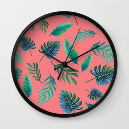 Coral tropical palm leaves Wall Clock