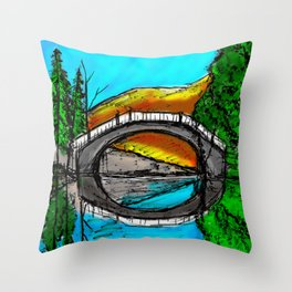 Bridge Reflection Marker #2 colored Throw Pillow