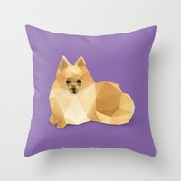 pomeranian Throw Pillows featuring Pomeranian. by Diana D'Achille