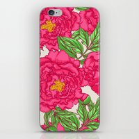 peonies iPhone & iPod Skins featuring peonies by melazerg