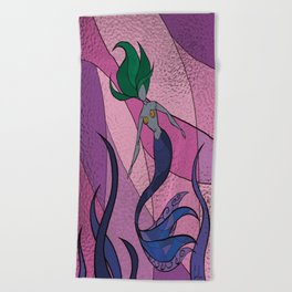 Mermaid Stained Glass (Royal) Beach Towel