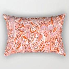 Abstract red coral lilac hand painted bohemian feathers pattern Rectangular Pillow