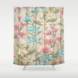 Faux Wood Country Floral Shower Curtain