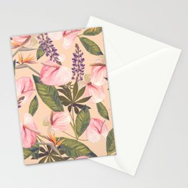 seamless  pattern with  flowers and leaves. Endless texture Stationery Cards