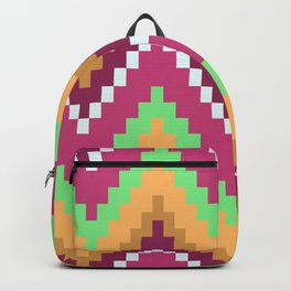 Pink Purple And White Wavy Pattern Native Aztec Backpack
