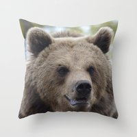 swedish Throw Pillows featuring Swedish bear by ilsephilips
