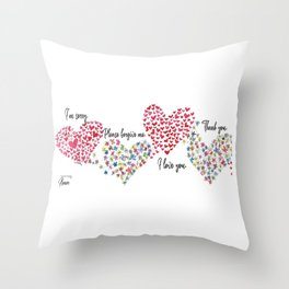 The Hearts and The Butterflies Throw Pillow