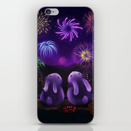 Chubby bunnies watch fireworks iPhone Skin