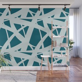 Pale Blue on Tropical Dark Teal Abstract Mosaic Pattern 3 Inspired by Sherwin Williams 2020 Trending Color Oceanside SW6496 Wall Mural