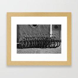 Waiting bikes Framed Art Print