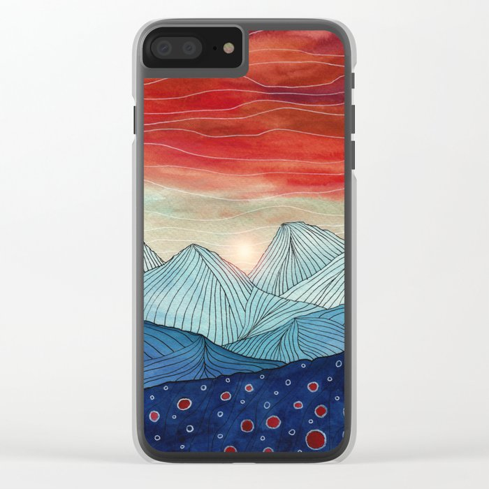 Lines in the mountains IV Clear iPhone Case