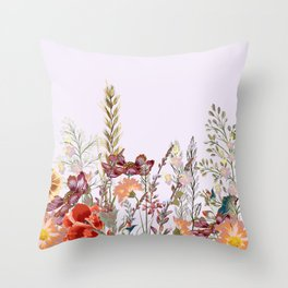 Spring field pattern with poppy and cosmos flowers Throw Pillow