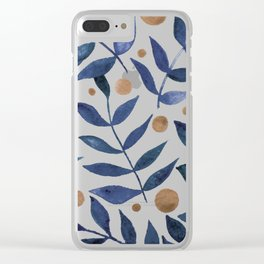 Watercolor berries and branches - indigo and beige Clear iPhone Case