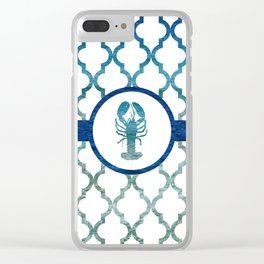 Lobster: Tropical Water Moroccan Pattern Clear iPhone Case