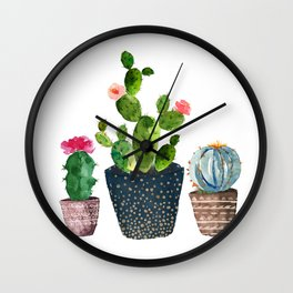 Watercolor cactus trio   hand painted cactus print Wall Clock