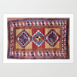 Kazak  Antique South West Caucasus Tribal Rug Art Print