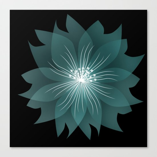 Blue flower on a black background .  Canvas Print