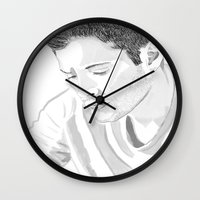 dean winchester Wall Clocks featuring Dean Winchester by Nasher67671
