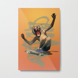 Vintage Urban Skate Tiger Boy Pepe Psyche Sun Metal Print