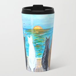 Cat Beach Sunset Travel Mug