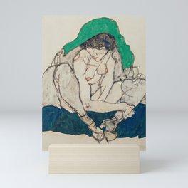 Egon Schiele - Crouching Woman with Green Headscarf Mini Art Print