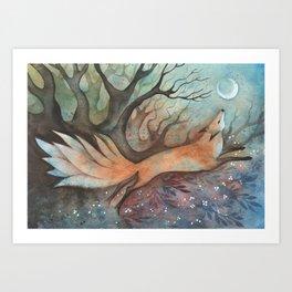 Nine-tailed fox Art Print
