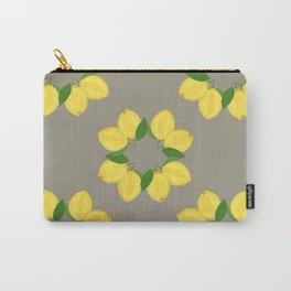 Lemon Pattern Grey Carry-All Pouch