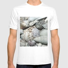 Sea Shells White MEDIUM Mens Fitted Tee