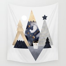 Christmas Mountains Wall Tapestry