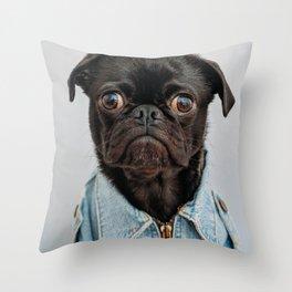 Cute Black Dog - Face Portrait Throw Pillow