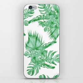 Palm Leaves and Hibiscus Tropical Green iPhone Skin