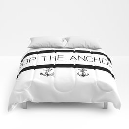 Drop The Anchors Stripes in Black Comforters