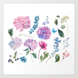 Blooming Hydrangea and garden flowers Art Print