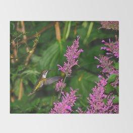 Hummingbird and agastache flower 60 Throw Blanket