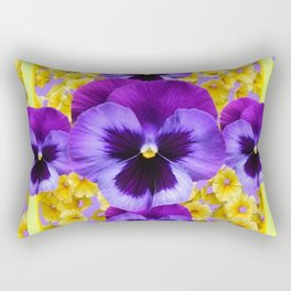 PURPLE PANSIES IN YELLOW FLORAL GARDEN Rectangular Pillow