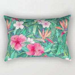 Classic Tropical Garden with Pink Flowers Rectangular Pillow
