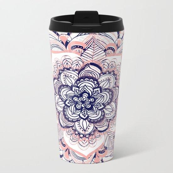Woven Dream - Pink, Navy & White Mandala Metal Travel Mug