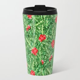 Holly Jolly Christmas Leaves & Berries (Small Pattern) Travel Mug