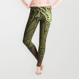 Polynesian Tribal Tattoo Shades Of Green Floral Design Leggings