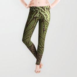 Polynesian Tribal Tattoo Shades Of Green Floral Design Leggings