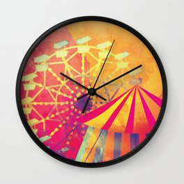 The Fair is in Town - Kitschy Abstract Watercolor Wall Clock