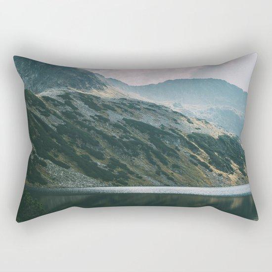 Moody Mountain Hill And Lake Rectangular Pillow