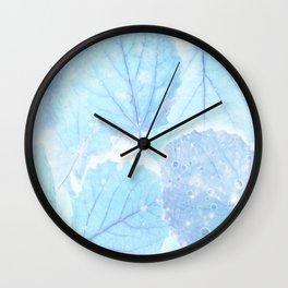 Blue autumn leaves Wall Clock