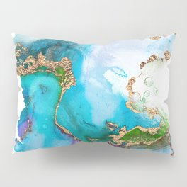 Abstract Marble Mermaid Gemstone With Gold Glitter Pillow Sham