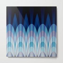 Sea blue and soft pink waves Metal Print