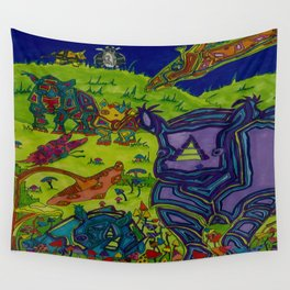 Shrooms and Rhinos Wall Tapestry