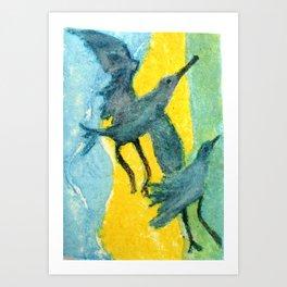 Seagulls Dancing Art Print